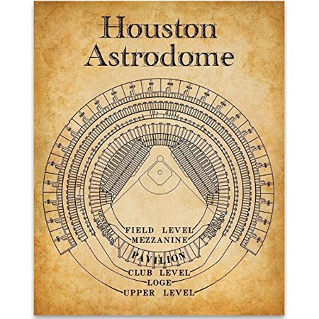 Houston Astrodome Stadium Seating Chart Art Print - 11x14 Unframed Art Print - Great Sports Bar Decor and Gift for Baseball
