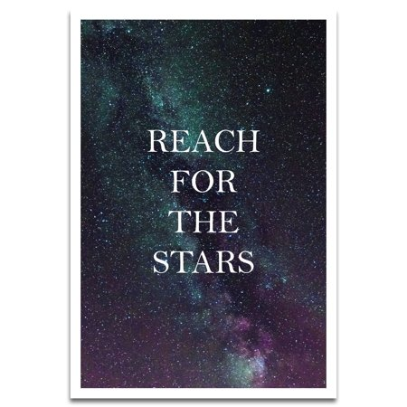 Visionary Prints 'Reach For The Stars' | Typography, Text Wall Art - Inspirational Typography Text Art Reach for the Stars - Inspirational Text Art | Modern Contemporary Poster Print, 13x19 inch 13x19 Inch 25 Sheets