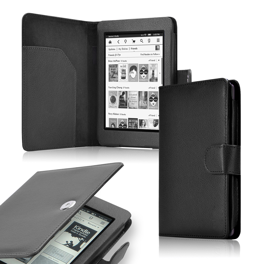 Flip PU Leather Durable Folio Protective Case cover for kindle 2014 Ereaders (Kindle 7th with touch) -Black