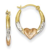Tri-Color Heart and Diamond-cut Hoops in 14k Yellow Gold, 13mm