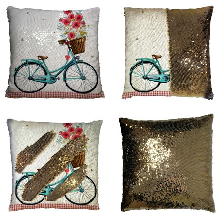 GCKG Bicycle With Flower Floral Butterfly Reversible Mermaid Sequin Pillow Case Home Decor Cushion Cover 16x16 inches