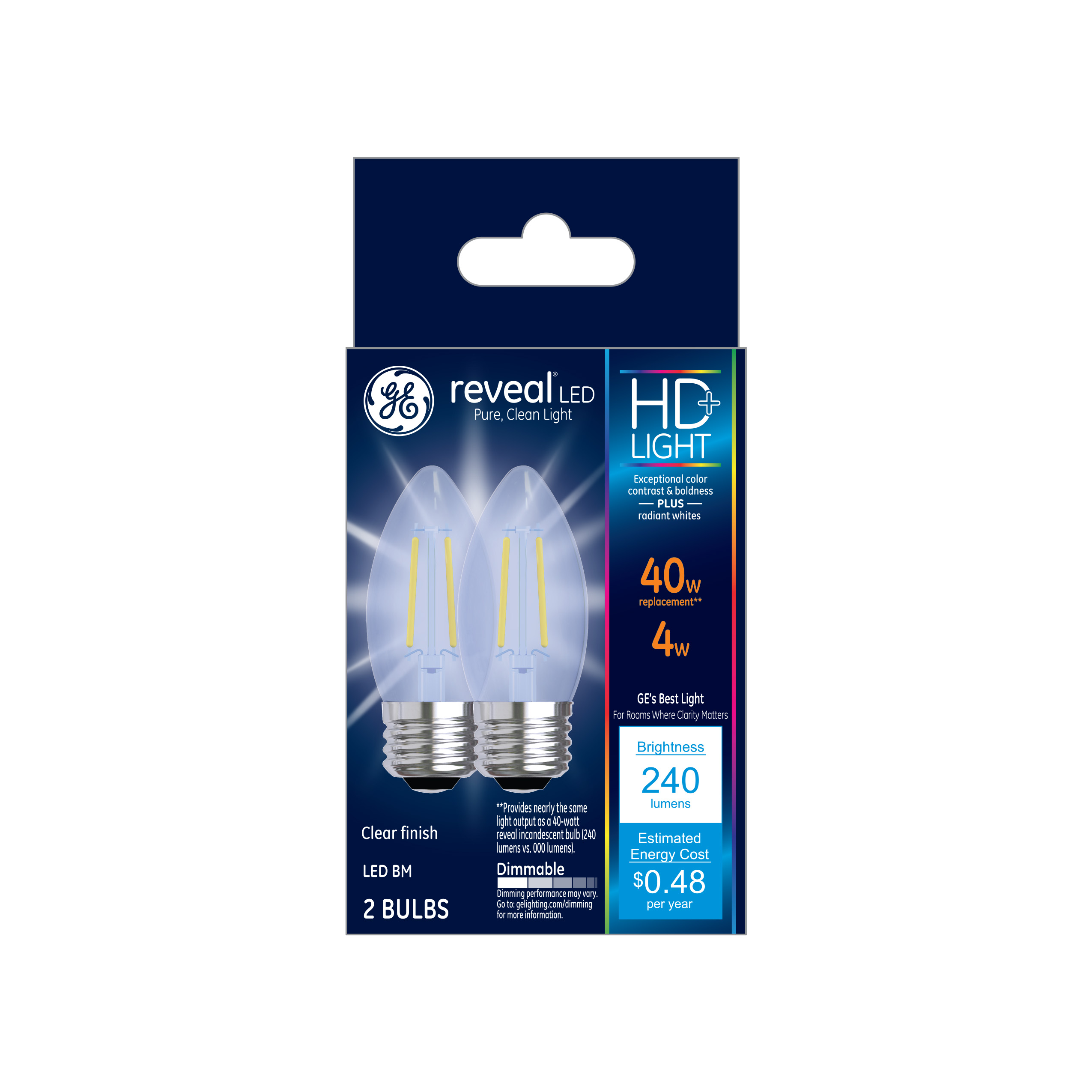 GE LED 4W HD Reveal Decorative Clear Finish, Medium Base, Dimmable, 2pk Light Bulbs