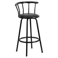 Product Image Flash Furniture Crown Back Black Metal Bar Stool With Vinyl Swivel Seat