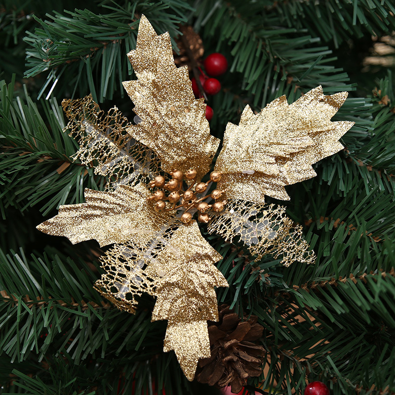 3Pcs Artificial Flowers Hollow Out Christmas Floral Ornaments Xmas Tree Wreaths Decor for Xmas Party Home Garden Wedding (Golden)