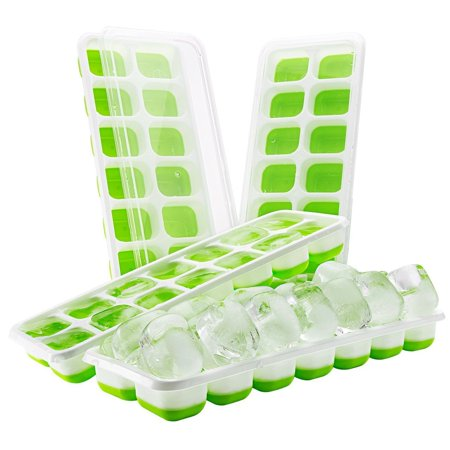 Silicone Ice Cube Tray 4 Pack with Lid, LFGB/FDA Approved BPA-free