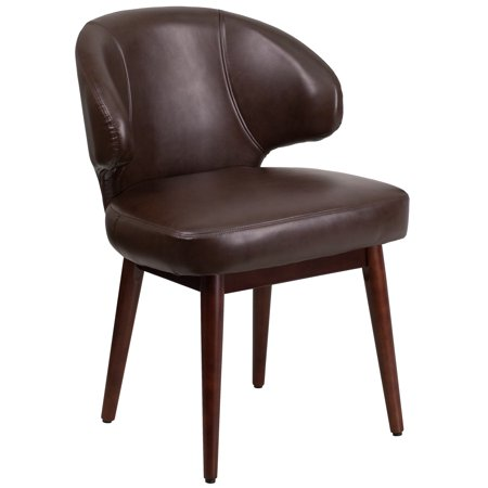Flash Furniture Comfort Back Series Leather Reception-Lounge-Office Chair with Walnut Legs, Multiple (Best Office Chair For Poor Leg Circulation)