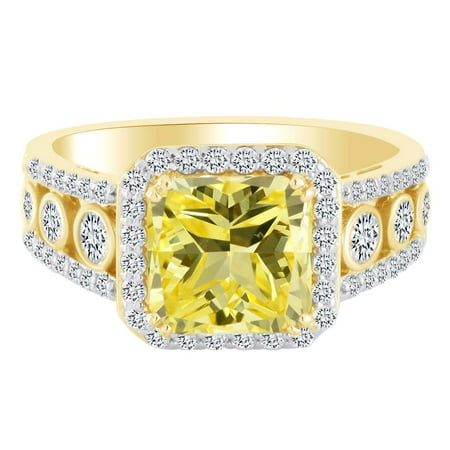 Simulated Yellow & White Cubic Zirconia Solitaire Engagement Ring In 10k Solid Yellow Gold (4.56 cttw) Ring Size-7.5