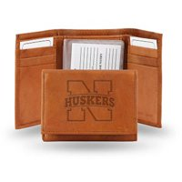 NCAA Nebraska Embossed Leather Trifold Wallet