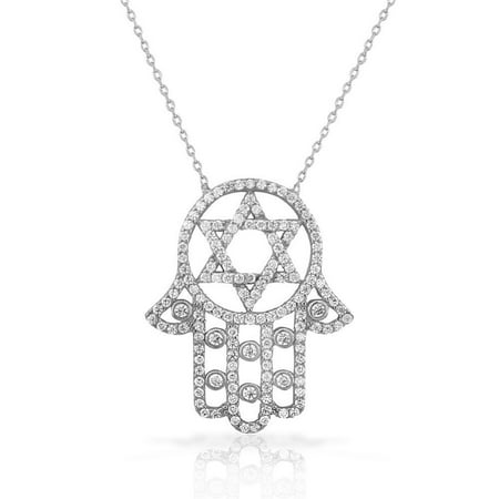 925 Sterling Silver White CZ Hamsa Star of David Necklace 925 Sterling Silver Bells