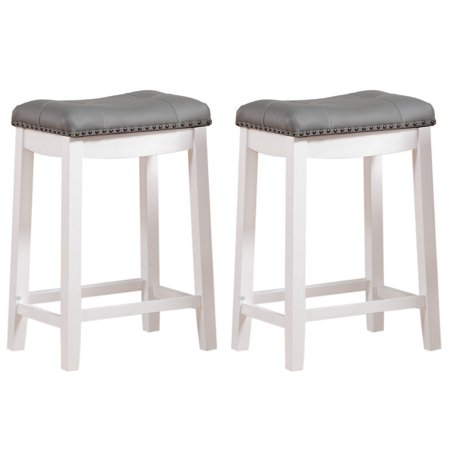 Stupendous Angel Line Cambridge 24 Padded Saddle Stool White W Gray Cushion Set Of 2 Uwap Interior Chair Design Uwaporg