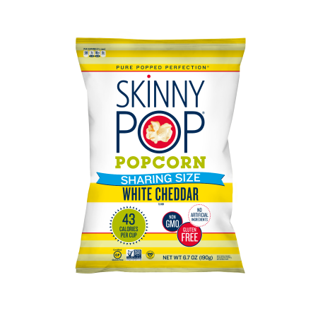 SkinnyPop Popcorn, White Cheddar, 6.7oz Sharing Size, Gluten-Free Popcorn, Non-GMO, No Artificial Ingredients, Healthy Snack