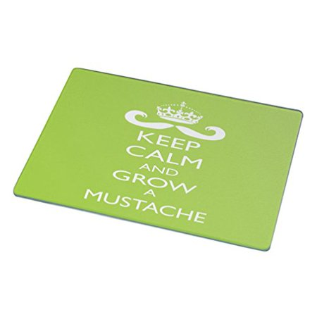 Rikki Knight -Keep Calm and Grow a Moustache Glass Cutting Board,Lime Green