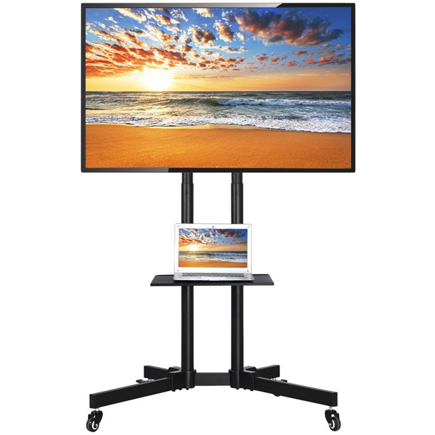 32 to 65 Inch Mobile TV Cart Rolling TV Stand for LED LCD Plasma Flat Panels on Wheels
