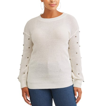 Evelyn Taylor Women's Plus Size Ribbed Pullover with Pearl Detail - Plus Size Corsette