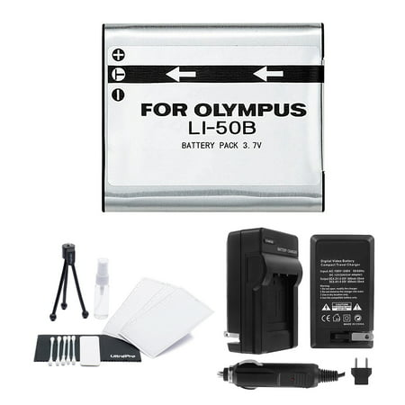 LI-50B High-Capacity Replacement Battery with Rapid Travel Charger for Select Olympus Digital Cameras. UltraPro Bundle Includes: Camera Cleaning Kit, LCD Screen Protector, Mini Travel - Digital Concepts Rapid Charger