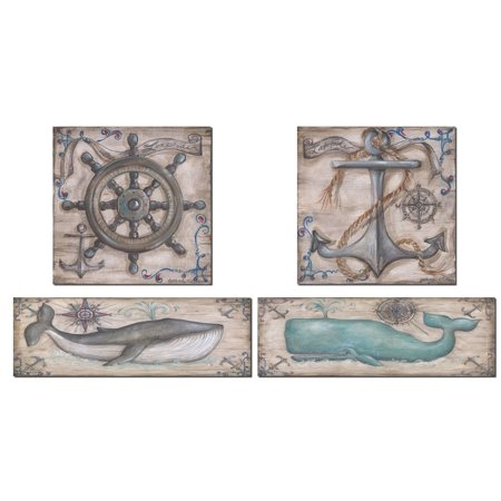Retro Grey and Teal Whale Anchor and Captains Wheel Prints; Nautical Coastal Decor; Two 18X6 and Two 12x12 Paper