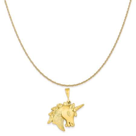 14k Yellow Gold Unicorn Head Charm on a 14K Yellow Gold Rope Chain Necklace, 18