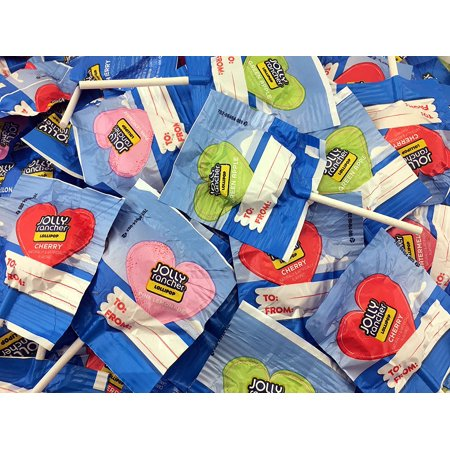 Jolly Rancher Lollipops Heart Shaped, Original Flavors (Pack of 2 Pounds) - Dum Dums Flavors