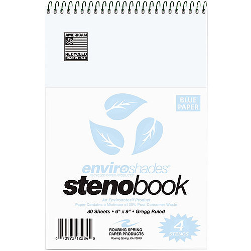 "Roaring Spring Paper Products Enviroshades Steno Notebook, Gregg, 6"" x 9"", Blue, 80 Sheets, 4pc"