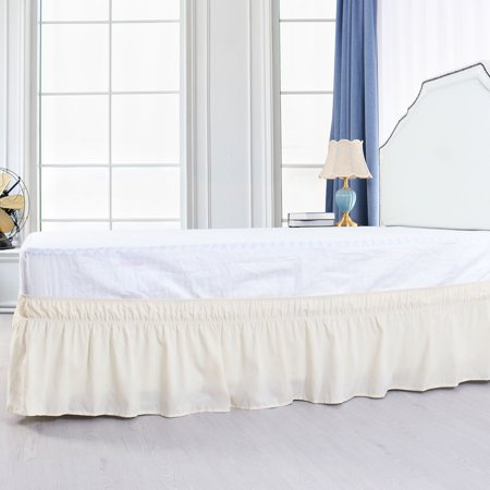 Pleated Bed Skirt Polyester Wrap Around Dust Ruffle Beige King 15 Inch Drop - image 6 de 8