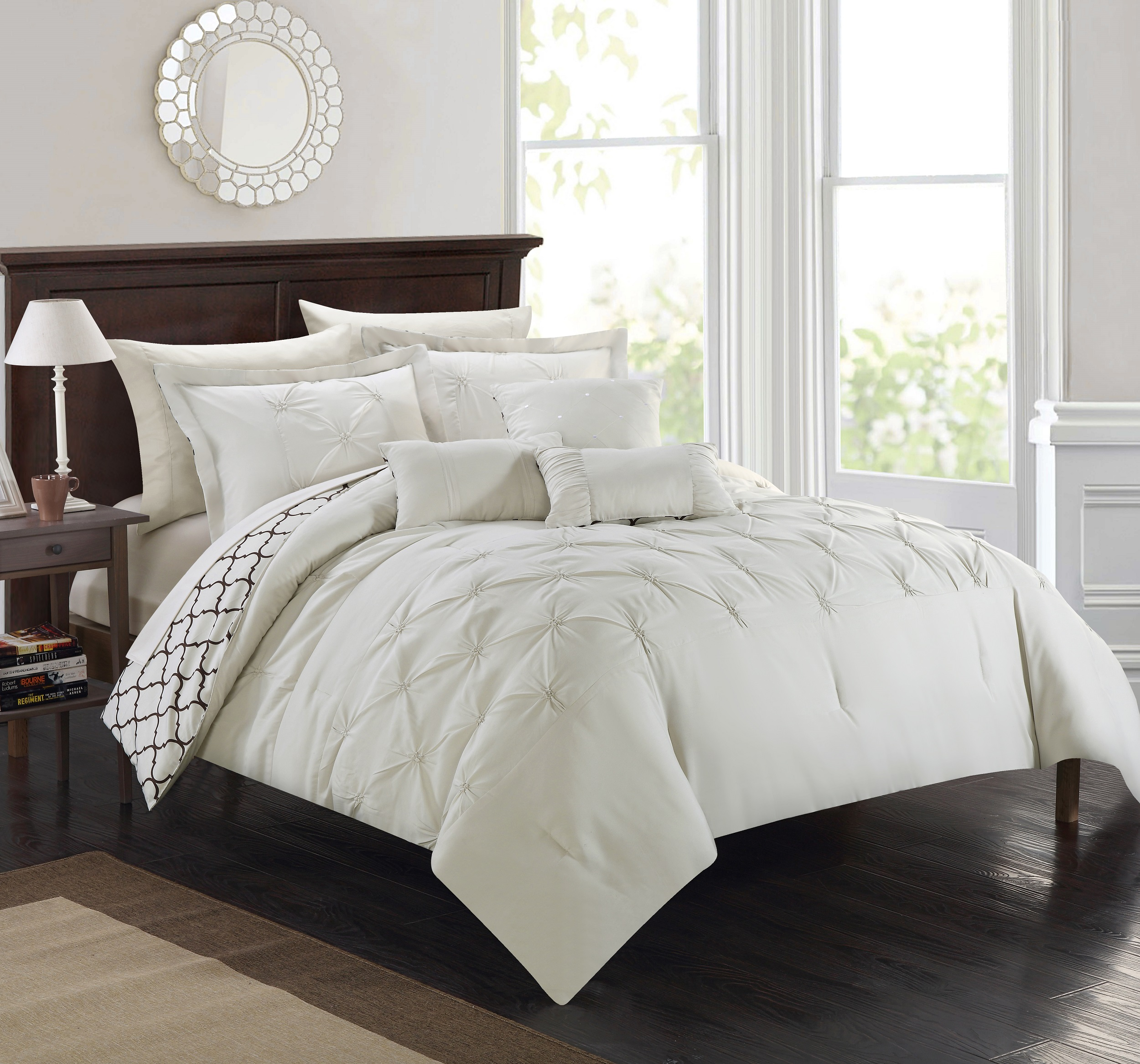 Chic Home 10-Piece Edney Pinch Pleated Reversible Bed In a Bag Comforter Set