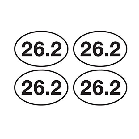 (4 Pack 26.2 Marathon Running Sticker Bumper Sticker Oval 5