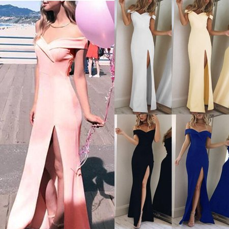 Formal Strapless Beading (Women Off Shoulder Fashion Simple Strapless Elegant Evening Party Dress Side Slit Long Temperamental Formal Dress)