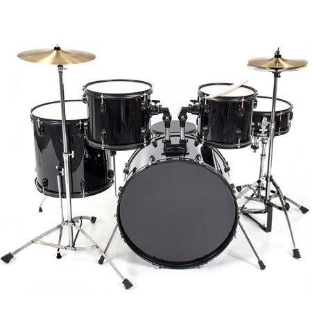Best Choice Products 5-Piece Full Size Complete Adult Drum Set with Cymbal Stands, Stool, Drum Pedal, Sticks,  Floor Tom (Black) (Drum Sets Full)