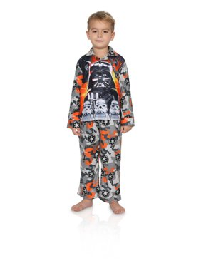 Star Wars Boys' Pajama Long Sleeve Coat and Lounge Pants 2-Piece Sleepwear Set, Grey, Size: 10