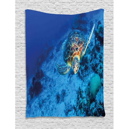 Turtle tapestry oceanic wildlife themed photo of sea for Space themed tapestry
