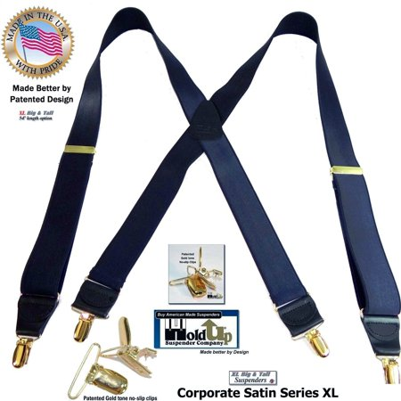 """Dressy Holdup X-back suspenders in Extra Long XL Steel Blue 1 1/2"""" Wide Satin Finish straps with Patented No-slip Gold Clips"""
