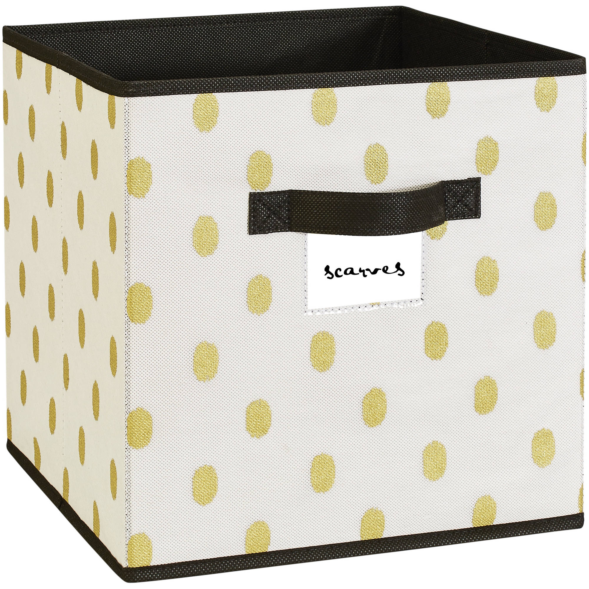"NW Storage Box Cube, 12"" x 12"", White/Gold Dot"
