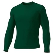 A4 Men's Compression Crew Long Sleeve, Forest, Large