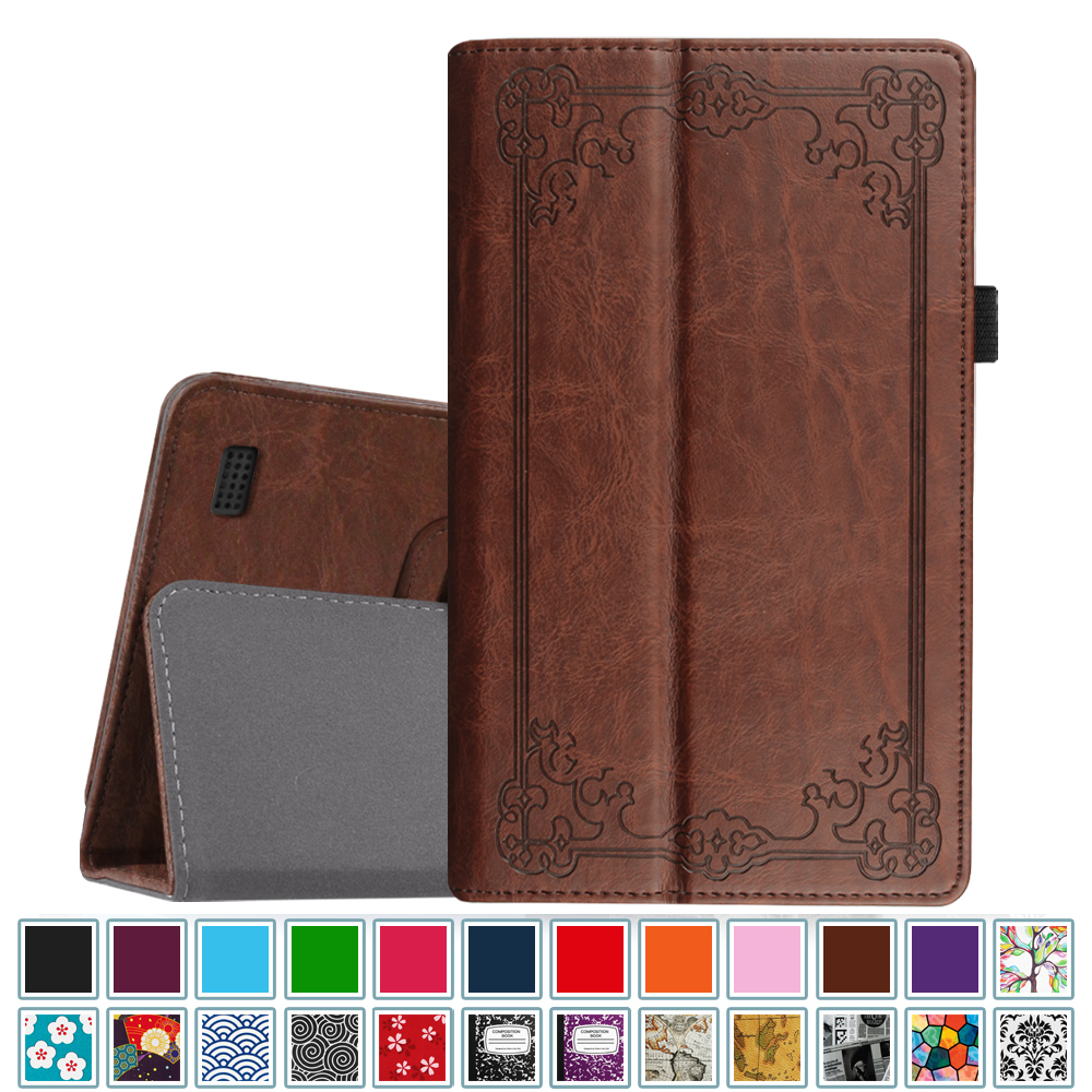 Fintie Folio Case for All-New Amazon Fire 7 Tablet ( 7th Gen, 2017 ) - Slim Fit PU Leather Stand Cover, Vintage Bronze