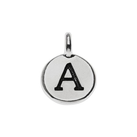 Alphabet Charm, Uppercase Letter 'A' 16.5x11.5mm, 1 Piece, Antiqued Silver - Alphabet Charms