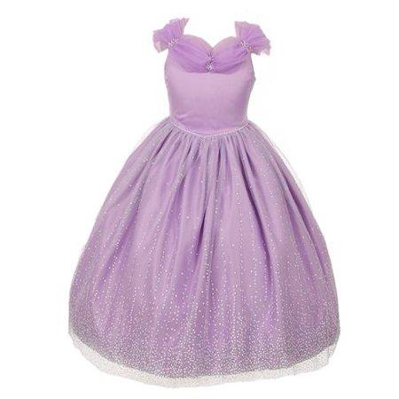 Rainkids Big Girls Lilac Rhinestones Sparkly Tulle Tiara Dress 10 (Princess Dress For Girls)