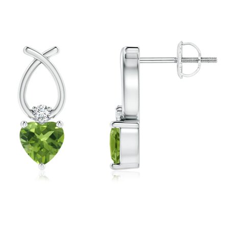 Mother's Day Jewelry Sale - Heart Shaped Peridot Ribbon Earrings with Diamond in 14K White Gold (4mm Peridot) - SE0964PD-WG-AAA-4