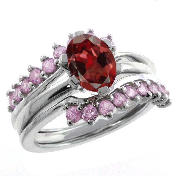 2.30 Ct Oval Red Garnet and Pink Sapphire Sterling Silver Ring Guard Enhancer