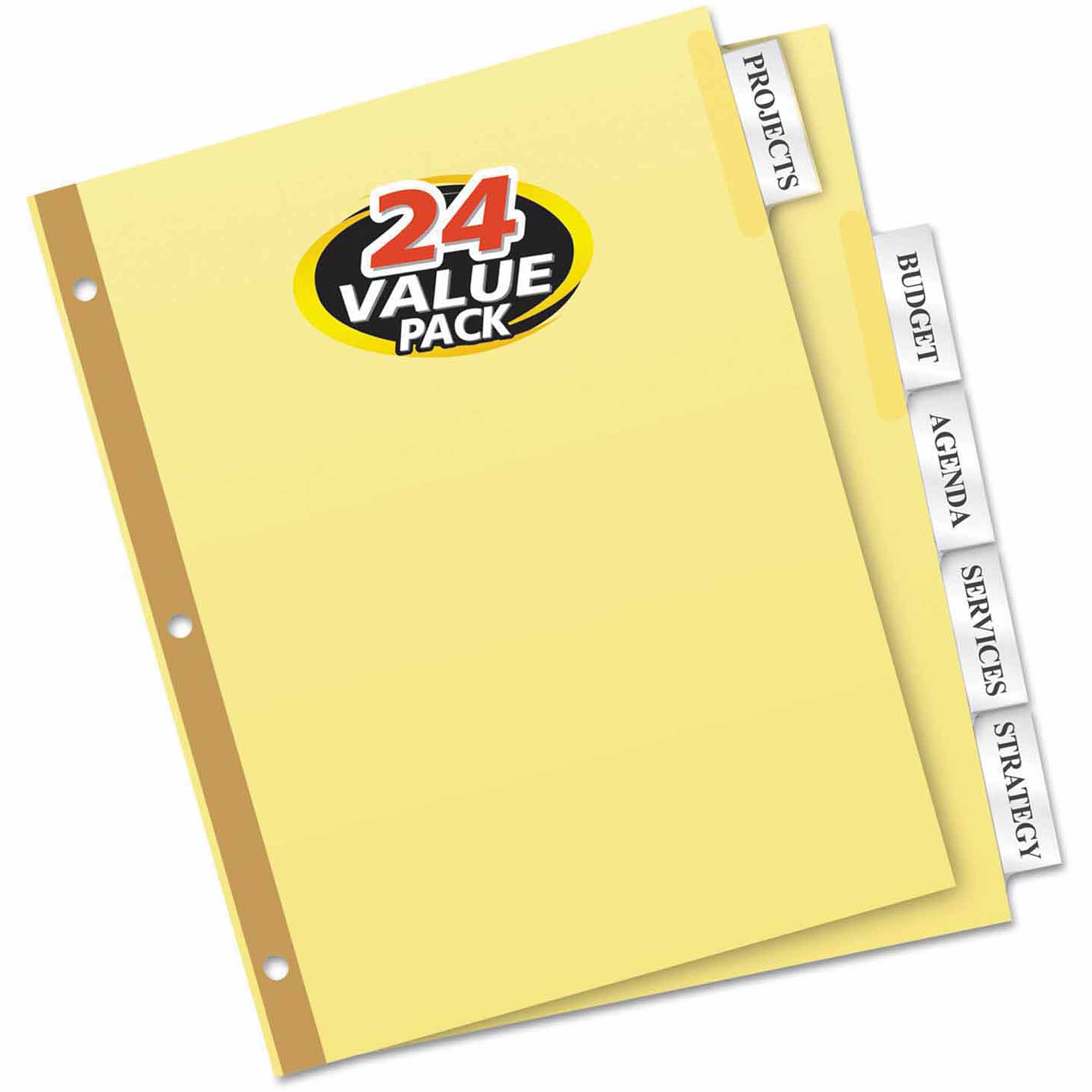 Avery WorkSaver Insertable Tab Index Dividers, 5-Tab, Clear, 24-Pack