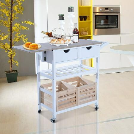 HomCom 34 in. Rolling Drop-Leaf Kitchen Trolley Serving Cart with Wine Rack Dining Room Kitchen Serving Cart
