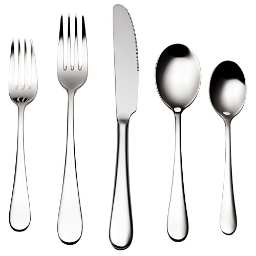 Bruntmor, ALBA Silverware Royal 45 Piece Flatware Cutlery Set, 18/10 Stainless Steel, Service for 8 w/ Serving Pieces