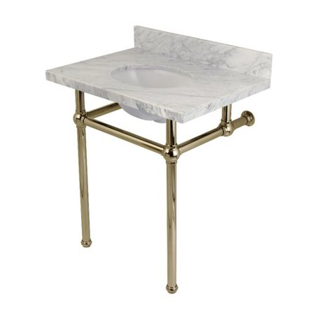 Kingston Brass Templeton Carrara Marble Rectangular Console Sinks Bathroom Sink with Overflow Marble Bathroom Sink