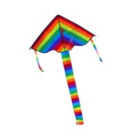 Colorful Rainbow Kite Long Tail Outdoor Flying Toys Children Kids Adults Great Beginner Kite