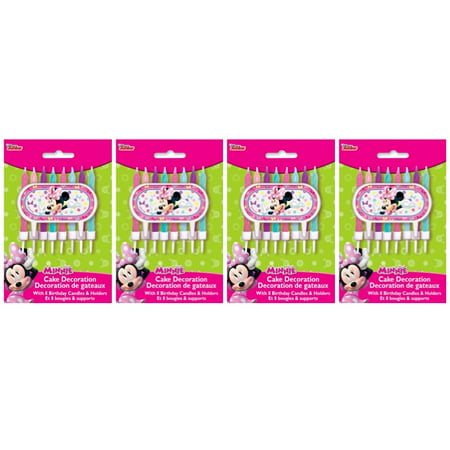 (4 Pack) Disney Minnie Mouse Bowtique Cake Topper and Birthday Candles