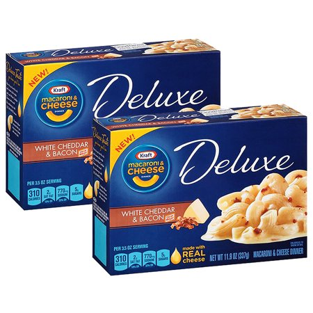 (2 Pack) Kraft Deluxe White Cheddar & Bacon Macaroni & Cheese Dinner, 11.9 oz Box