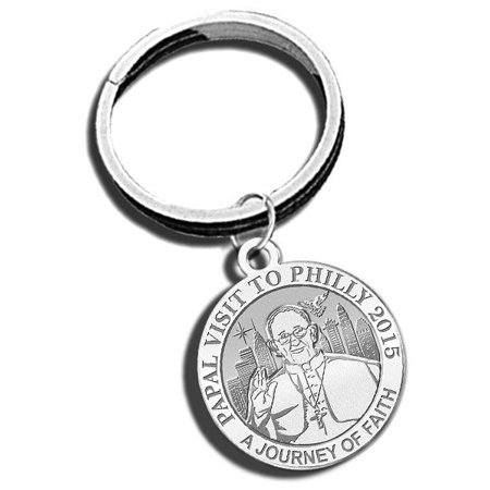 Embossed Keychain - Pope Francis - Papal Visit Philadelphia 2015 Religious Engravable Embossed Keychain - 1 Inch X 1 Inch Round - Sterling Silver