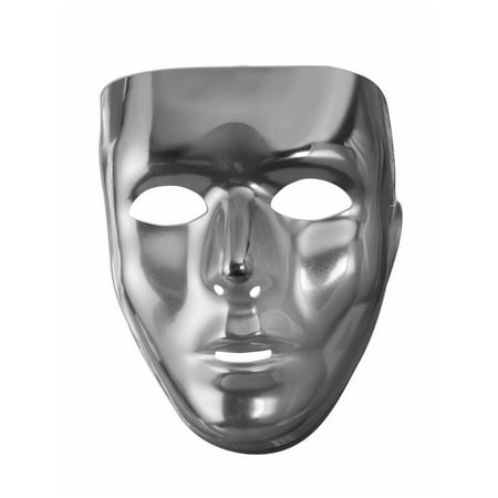 Silver Full Face Mask Halloween Costume Accessory - Halloween Cut Out Face Masks