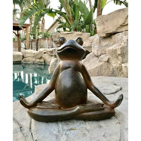 Ebros Rustic Contented Yoga Frog Garden Statue Meditating Buddha Frog Decorative Sculpture 14