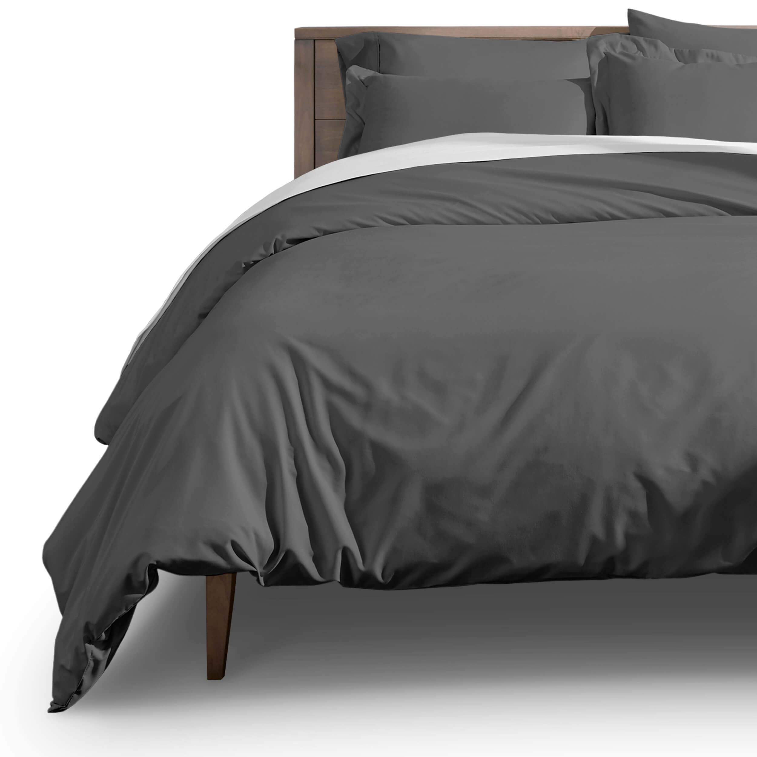 Luxury 3 Piece Duvet Cover and Sham Set - Premium 1800 Ultra-Soft Brushed Microfiber - Hypoallergenic, Easy Care, Wrinkle Resistant (Full/Queen, Grey)