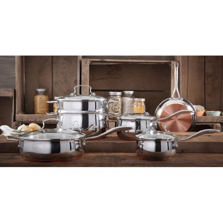 - The Pioneer Woman Copper Charm 10-Piece Stainless Steel Copper Bottom Cookware Set